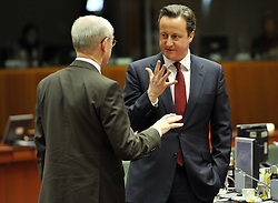 European Council President Herman Van Rompuy(L) talks with British Prime Minister David Cameron ahead of the second day s EU summit meeting at EU headquarters in Brussels, capital of Belgium, March 15, 2013. Photo by Imago / i-Images...UK ONLY.Contact..