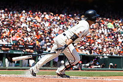 SAN FRANCISCO, CA - APRIL 24: Gregor Blanco #7 of the San Francisco Giants hits an RBI single against the Miami Marlins during the second inning at AT&T Park on April 24, 2016 in San Francisco, California.  (Photo by Jason O. Watson/Getty Images) *** Local Caption *** Gregor Blanco
