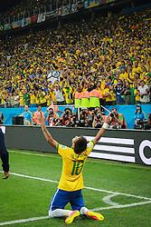 Neymar Jr. comemora seu gol na estréia da Copa do Mundo 2014, na Arena Corinthians, em São Paulo. FOTO: Jefferson Bernardes/ Agência Preview