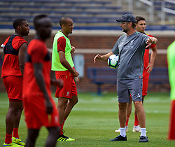 ANN ARBOR, USA - Friday, July 27, 2018: Liverpool's manager Jürgen Klopp and Fabio Henrique Tavares 'Fabinho' during a training session ahead of the preseason International Champions Cup match between Manchester United FC and Liverpool FC at the Michigan Stadium. (Pic by David Rawcliffe/Propaganda)