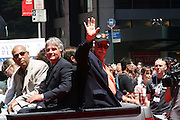 Orlando Sepada, Guest and Gaylord Perry at the Major League Baseball All-Stars and 49 Hall of Famers ride up Sixth Avenue in All Star-Game Red Carpet Parade Presented by Chevy on July 15, 2008