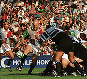 1997 Heineken European Cup  Quins vs Cardiff, Quins' -  Keith Woods. taps the ball. © Peter Spurrier, [Mandatory Credit Peter Spurrier/ Intersport Images]