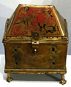 St George Reliquary Casket. A casket containing the relics of St george patron saint of England (depicted on the lid). It also includes relics from St Etheldreda of Ely. English metalwork and enamel decorated object circa 1400-1450