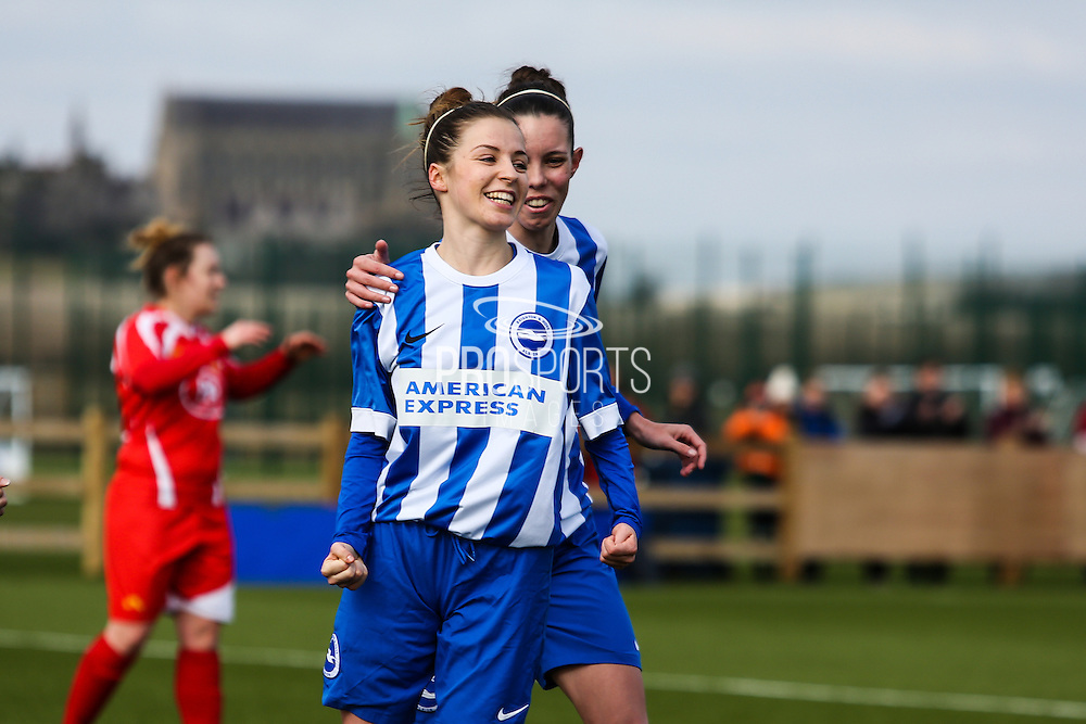 Charlotte Owen smiles after scoring during the FA Women's Premier League match between Brighton Ladies and Cardiff City Ladies at Brighton's Training Ground, Lancing, United Kingdom on 22 March 2015. Photo by Geoff Penn.