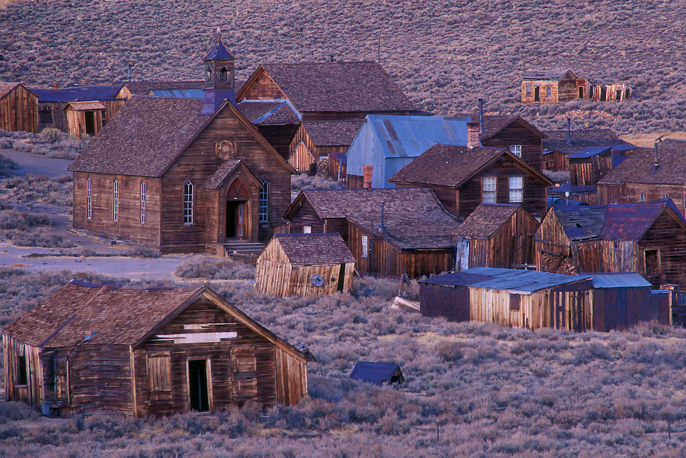 Bodie ghost town at dusk; Bodie State Historical Park, California.