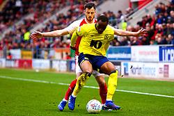 Ryan Nyambe of Blackburn Rovers holds off Anthony Forde of Rotherham United - Mandatory by-line: Ryan Crockett/JMP - 02/03/2019 - FOOTBALL - Aesseal New York Stadium - Rotherham, England - Rotherham United v Blackburn - Sky Bet Championship