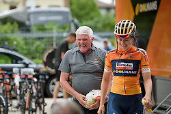 Fun and games in the Boels Dolmans camp Stage 1 of the Giro Rosa - a 11.5 km team time trial, between Aquileia and Grado on June 30, 2017, in Friuli-Venezia Giulia, Italy. (Photo by Sean Robinson/Velofocus.com)