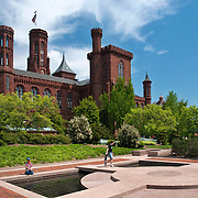 Smithsonian Castle and the Moongate Garden at the Smithsonian Institution in Washington DC