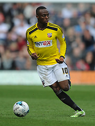 Moses Odubajo Brentford,   Derby County, Derby County v Brentford, Sky Bet Championship, IPro Stadium, Saturday 11th April 2015. Score 1-1,  (Bent 92) (Pritchard 28)<br /> Att 30,050