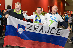 Fans of Slovenia before handball match between National teams of Slovenia and Spain on Day 6 in Main Round of Men's EHF EURO 2018, on January 23, 2018 in Arena Varazdin, Varazdin, Croatia. Photo by Mario Horvat / Sportida