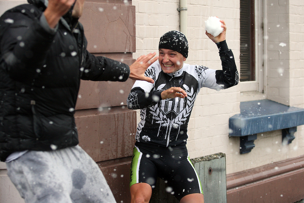 H&Js Outdoor World-Avanti Plus Alexander Ray plays in the snow as a wintry blast over Southland causes the officals to cancel stage seven of the PowerNet Tour of Southland, Winton, New Zealand, Saturday, November 05, 2011. Credit:SNPA / Dianne Manson.
