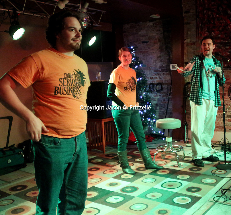 Brett J. Young, left Jordan Mullaney, center and Devin DiMattia perform during Pineapple Shaped Lamps' premiere party for Sketch 22, a show that airs on the Cape Fear CW. (Jason A. Frizzelle)