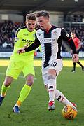 St Mirren midfielder Kyle McAllister (23) with ball at feet during the Ladbrokes Scottish Premiership match between St Mirren and Hibernian at the Paisley 2021 Stadium, St Mirren, Scotland on 27 January 2019.