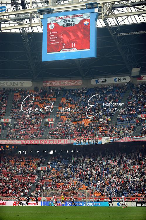 12-04-2009 Voetbal:Ajax:Willem II:Amsterdam<br /> Scorebord geeft de blamerende 7-0 aan vlak voor tijd in de Arena<br /> Foto: Geert van Erven