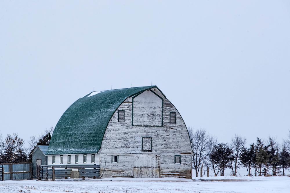 An old barn weathers another winter near Sturgis, South Dakota, on Friday, Jan. 12, 2018.