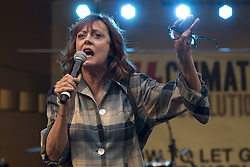 "October 23, 2016 - Los Angeles, California, United States - Actress and activist, Susan Sarandon, speaks during Climate Revolution Rally in Los Angeles, California. October 23, 2016. The rally is part of a series of ""Climate Revolution"" rallies held across the country to inform people about issues related to climate change and social justice. (Credit Image: © Ronen Tivony/NurPhoto via ZUMA Press)"