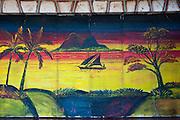 Painted garage door. Port Louis.