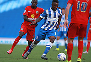 Brighton midfielder winger Kazenga LuaLua looks for an opening during the Sky Bet Championship match between Brighton and Hove Albion and Blackburn Rovers at the American Express Community Stadium, Brighton and Hove, England on 22 August 2015. Photo by Bennett Dean.