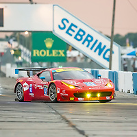 Sebring, FL - Mar 19, 2015:  The AF Corse Ferrari 458 Italia races through the turns at 12 Hours of Sebring at Sebring Raceway in Sebring, FL.