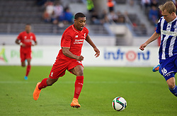 HELSINKI, FINLAND - Friday, July 31, 2015: Liverpool's Jordon Ibe in action against HJK Helsinki during a friendly match at the Olympic Stadium. (Pic by David Rawcliffe/Propaganda)
