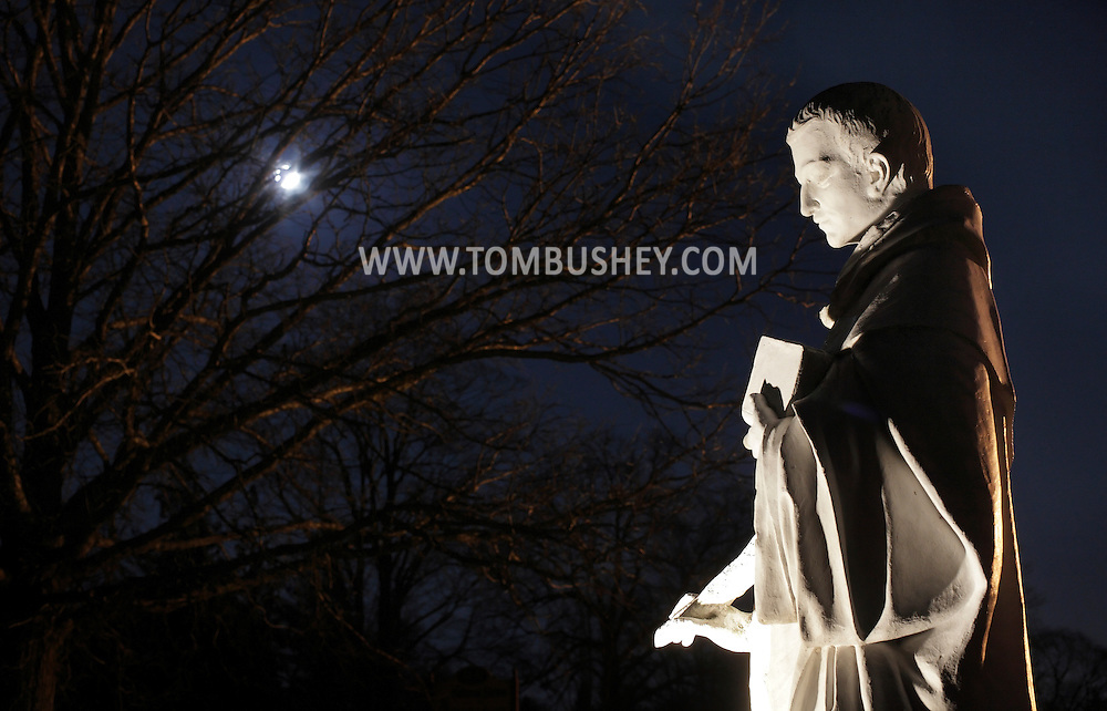 Middletown, New York - A statue of St. Albert of Trapani in the moonlight at the National Shrine of Our Lady of Mount Carmel on March 19, 2011.