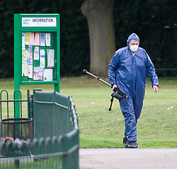 © Licensed to London News Pictures. 18/08/2011. Police forensics in Ponders End Recreation Ground in Enfield, London today (18/08/2011) where 14 Year-old Leroy James was found stabbed to death yesterday afternoon. Photo credit: Ben Cawthra/LNP