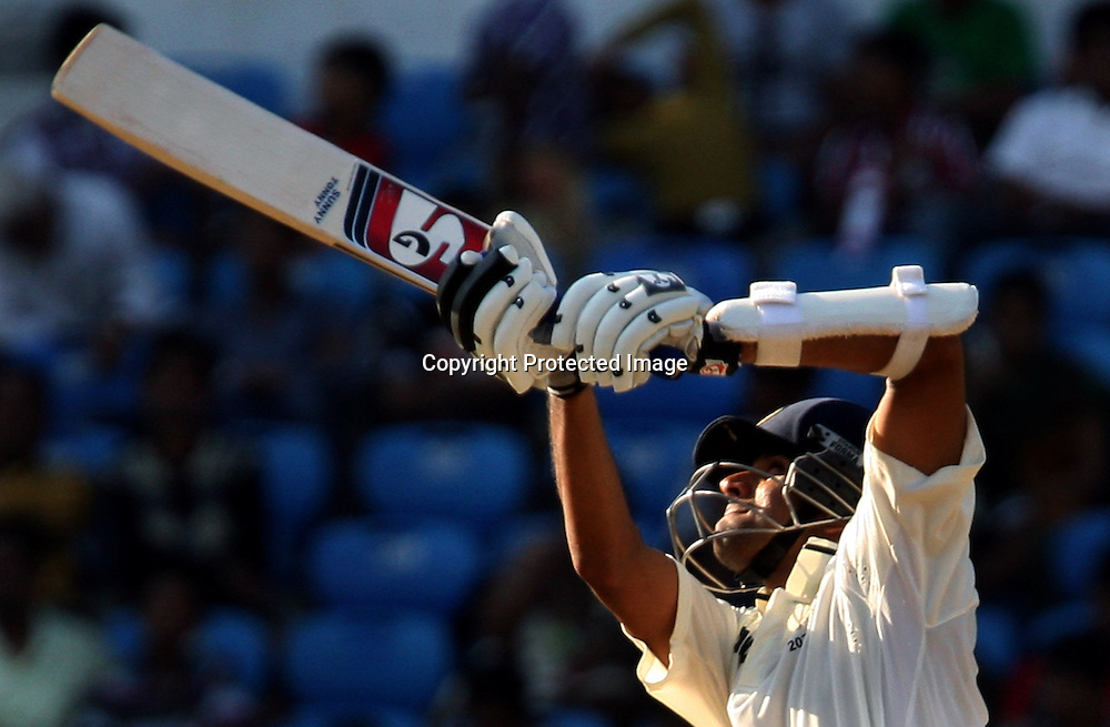Indian batsman Rahul Dravid  Plays a shot against New Zealand during The India vs New Zealand 3rd test match day-2 Played at Vidarbha Cricket Association Stadium, Jamtha, Nagpur, 21, November 2010 (5-day match)