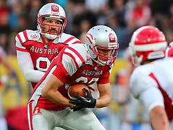 31.05.2014, UPC Arena, Graz, AUT, American Football Europameisterschaft 2014, Gruppe B, Oesterreich (AUT) vs Daenemark (DEN), im Bild Christoph Gross, (Team Austria, QB, #8) und Felix Stadler, (Team Austria, RB, #33) // during the American Football European Championship 2014 group B game between Austria and Denmark at the UPC Arena, Graz, Austria on 2014/05/31. EXPA Pictures © 2014, PhotoCredit: EXPA/ Thomas Haumer