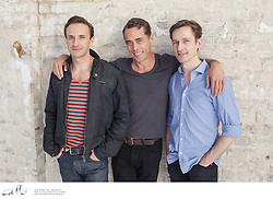 Angels In America cast members Mitchell Butel, Marcus Graham and Luke Mullins at the Belvoir rehearsal space in Surry Hills, New South Wales.