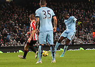 Yaya Toure of Manchester City scores the first goal against Sunderland during the Barclays Premier League match at the Etihad Stadium, Manchester.<br /> Picture by Michael Sedgwick/Focus Images Ltd +44 7900 363072<br /> 01/01/2015