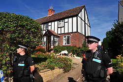© Licensed to London News Pictures. 29/09/2018<br /> HADLOW, UK.<br /> Police officers outside 26 Carpenters Lane.<br /> A murder investigation has been launched in Hadlow,Kent after the deaths of two women at Carpenters Lane. A 28 year old man has been arrested on suspicion of murder after three people suffered serious injuries. Police forensic officers are at the scene inside two properties 26 and 24 Carpenters Lane.<br /> Photo credit: Grant Falvey/LNP