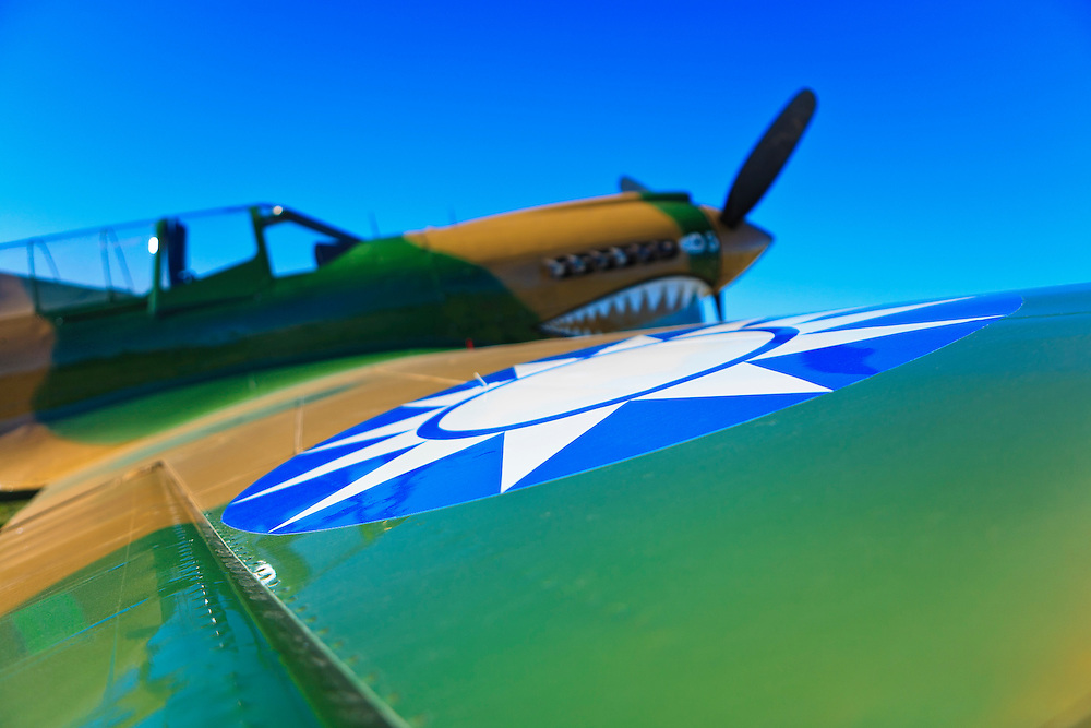 """Restored P-40 War Hawk with the """"Flying Tigers"""" insignia.  AirVenture 2008, Oshkosh, Wisconsin."""