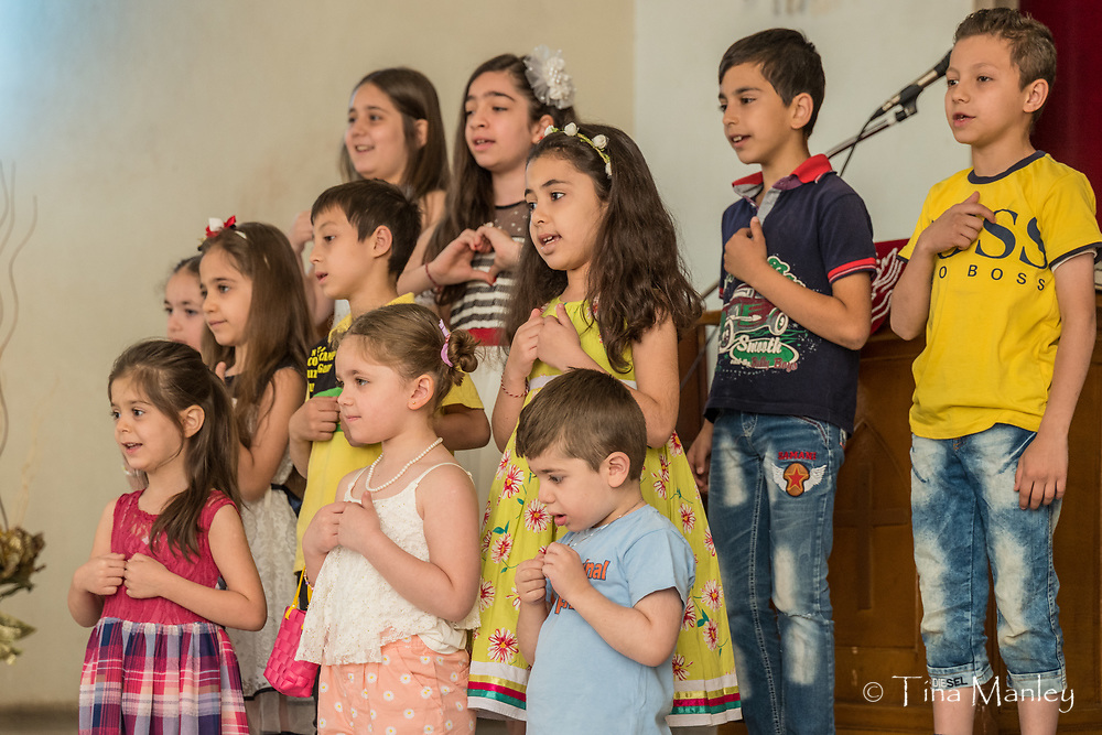 Sunday evening worship and fellowship at the Kamishli Evangelical Presbyterian Church in Kamishli, Syria.