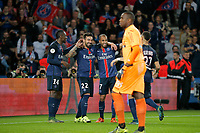 Ezequiel Ivan Lavezzi (psg) (Pocho), Blaise Mathuidi (psg), Lucas Rodrigues Moura da Silva (psg), Layvin Kurzawa (psg) during the French Championship Ligue 1 football match between Paris Saint Germain and Toulouse FC on November 7, 2015 at Parc des Princes stadium in Paris, France. Photo Stephane Allaman / DPPI