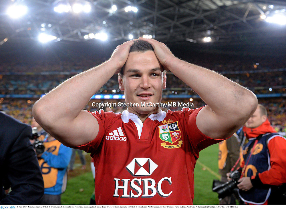 6 July 2013; Jonathan Sexton, British & Irish Lions, following his side's victory. British & Irish Lions Tour 2013, 3rd Test, Australia v British & Irish Lions. ANZ Stadium, Sydney Olympic Park, Sydney, Australia. Picture credit: Stephen McCarthy / SPORTSFILE