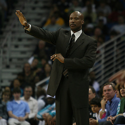 15 April 2008:  New Orleans Hornets head coach Byron Scott calls a play from the bench in the second half of the Hornets 114-92 Southwestern Division clinching victory over the Clippers at the New Orleans Arena in New Orleans, Louisiana.