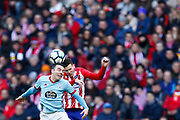 Atletico Madrid's French defender Lucas Hernandez heads the ball during the Spanish championship Liga football match between Atletico de Madrid and RC Celta on March 11, 2018 at the Wanda Metropolitano stadium in Madrid, Spain - Photo Benjamin Cremel / ProSportsImages / DPPI