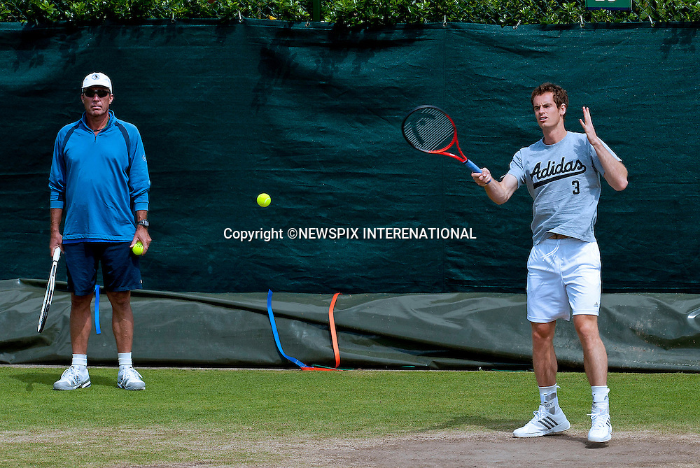 ANDY MURRAY WATCHED BY COACH IVAN LENDL<br /> practices at the Wimbledon Tennis Tournament held at the All England Club in Wimbledon, London<br /> Mandatory Credit Photo: &copy;Robert Piper/NEWSPIX INTERNATIONAL<br /> <br /> **ALL FEES PAYABLE TO: &quot;NEWSPIX INTERNATIONAL&quot;**<br /> <br /> IMMEDIATE CONFIRMATION OF USAGE REQUIRED:<br /> Newspix International, 31 Chinnery Hill, Bishop's Stortford, ENGLAND CM23 3PS<br /> Tel:+441279 324672  ; Fax: +441279656877<br /> Mobile:  07775681153<br /> e-mail: info@newspixinternational.co.uk