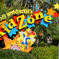 Woody Woodpecker's Kidzone Sign at Universal in Orlando, Florida<br />