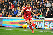 Stewart Downing of Middlesbrough FC crosses ball during the Sky Bet Championship match between Hull City and Middlesbrough at the KC Stadium, Kingston upon Hull, England on 7 November 2015. Photo by Ian Lyall.