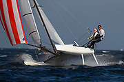 Nacra 17 sailors Bora Gulari (R) and CHAFEE Louisa Chafee (L) from the US sail in a practice race in Guanabara Bay in Rio de Janeiro, Brazil, 02 August 2016. Sailing events at 2016 Olympic Games start on 08 August.