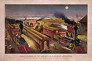"Vintage Illustration: Night scene at an American railway junction, Lightning Express, Flying Mail, and Owl Trains, ""on time""  Published by Currier & Ives, 1876."