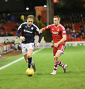 Dundee&rsquo;s Greg Stewart goes past Aberdeen&rsquo;s Adam Rooney - Aberdeen v Dundee, Ladbrokes Premiership at Pittodrie<br /> <br />  - &copy; David Young - www.davidyoungphoto.co.uk - email: davidyoungphoto@gmail.com