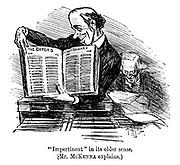 """Impertinent"" in its older sense. (Mr McKenna explains)"