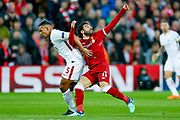 Liverpool striker Mohamed Salah (11) in action  during the Champions League semi final leg 1 of 2 match between Liverpool and Roma at Anfield, Liverpool, England on 24 April 2018. Picture by Simon Davies.