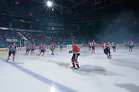 KELOWNA, CANADA - NOVEMBER 1:  The Kelowna Rockets warm up on the ice against the Kamloops Blazers at the Kelowna Rockets on November 1, 2012 at Prospera Place in Kelowna, British Columbia, Canada (Photo by Marissa Baecker/Shoot the Breeze) *** Local Caption ***