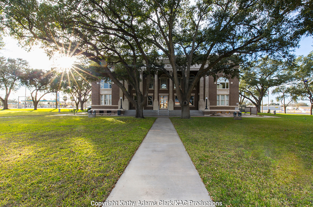 The Brooks County Courthouse in Falburrias, Texas, was designed by Alfred Giles in 1914 in the Classic revival style.
