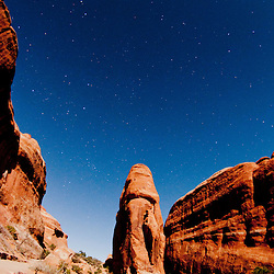 Devils Garden Under Stars and Moonlight, Arches National Park, Utah, US