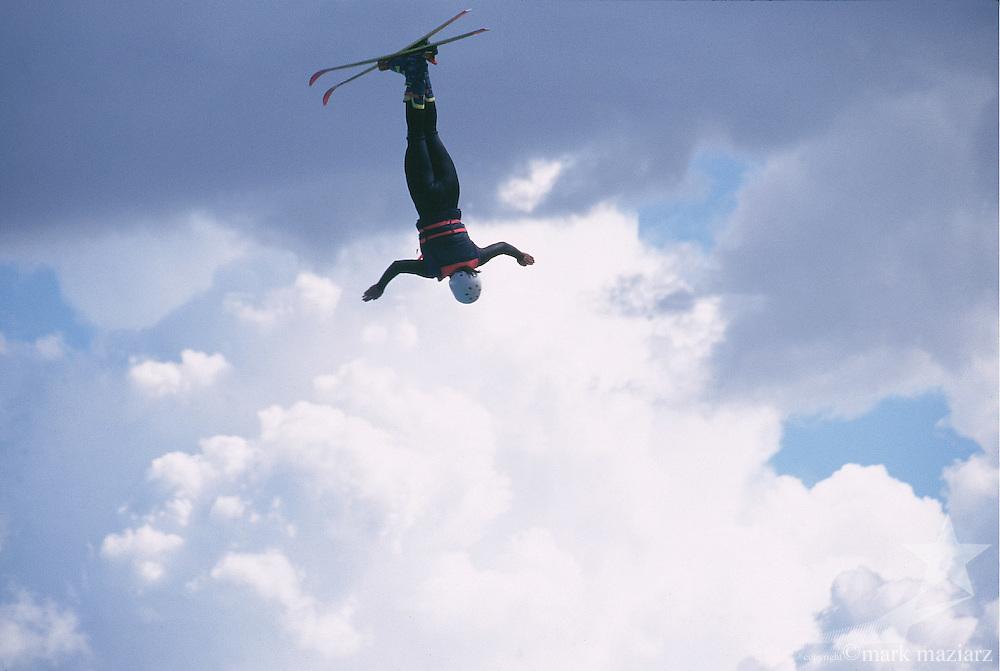 Utah Olympic Park in Park City, Utah. Athletes training in splash pool during summer.
