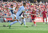 Ottawa Fury FC defender Marcel De Jong (#30) shoots at goal during the NASL match between the Ottawa Fury FC and Jacksonville Armada FC at TD Place Stadium in Ottawa, ON. Canada on May 22, 2016. Ottawa Fury FC winning 1-0 after an 88th minute goal from Marcel De Jong.<br /> <br /> PHOTO: Steve Kingsman/Freestyle Photography